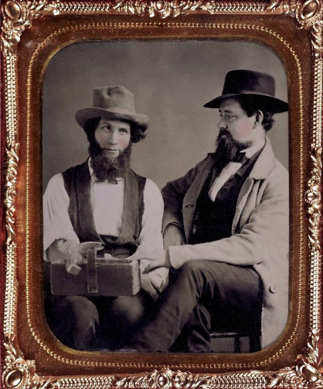 Unknown photographer (American) 'Untitled [Two men, one with trug of tools]' c. 1850-60s