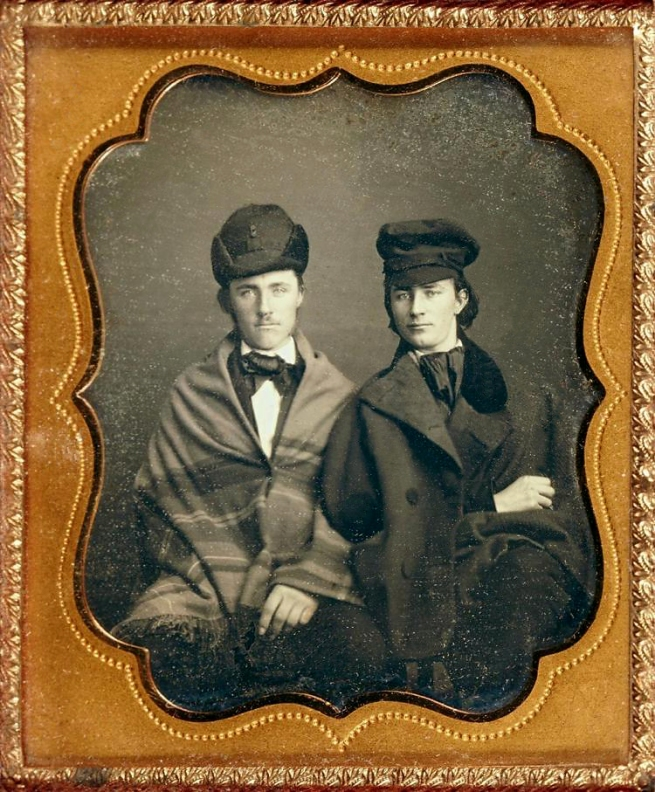 Unknown photographer (American) 'Untitled [Two men in caps, elegantly dressed]' c. 1850s