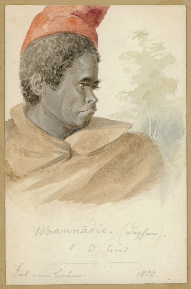 Ludwig Becker (Germany 1808 - Australia 1861, Australia from 1851) 'Aborigines of Tasmania: Woannadie, young woman' 1852