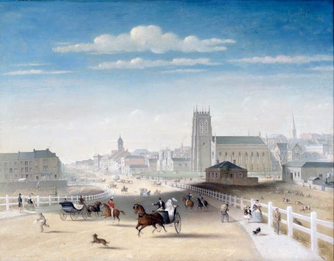 Henry Burn (England c. 1807 - Australia 1884, Australia from 1853, died 1884) 'Swanston Street from the Bridge' 1861