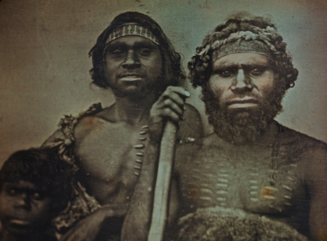 Douglas T. Kilburn. 'No title (Group of Koori men)' c. 1847 (detail)