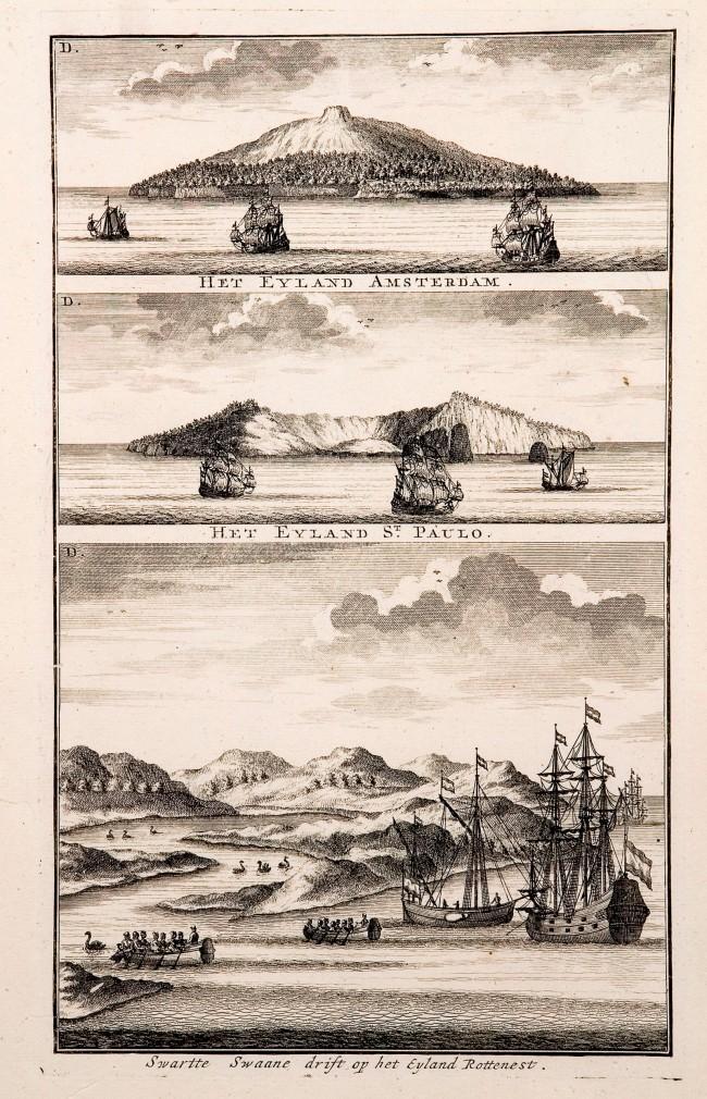 Victor Victorszoon (draughtsman) Johannes van Keulen II. 'Amsterdam Island, St Paul Island, Black swans near Rottnest Island' c. 1724-26