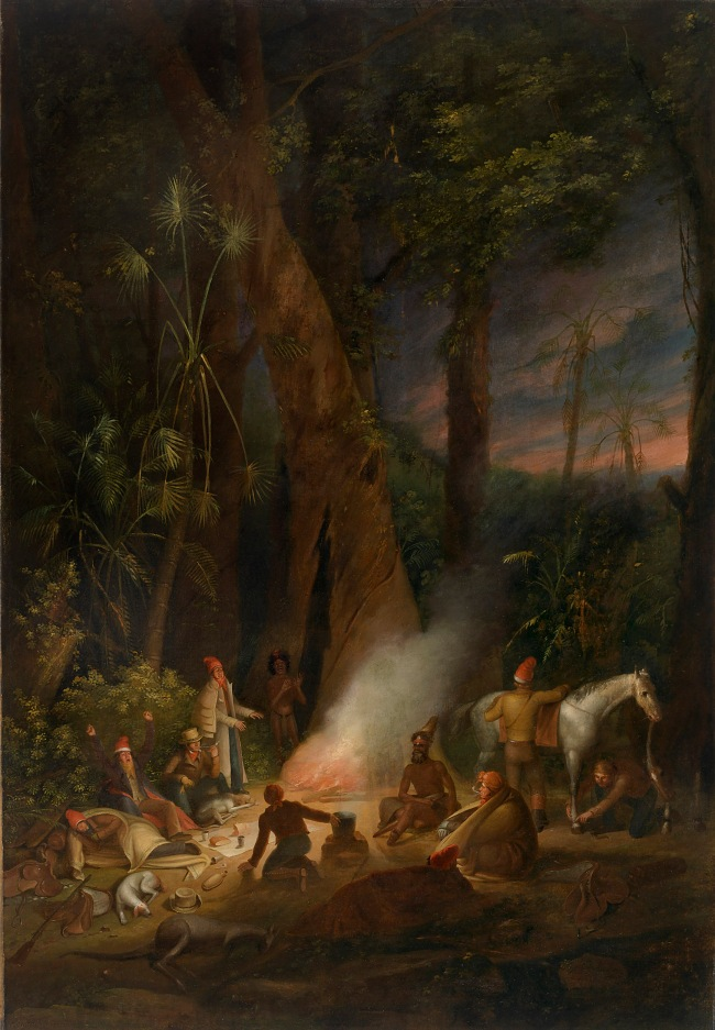 Augustus Earle (England 1793-1838, Brazil 1820-24, Australia 1825-28) 'A bivouac of travellers in Australia in a cabbage-tree forest, day break' c. 1838