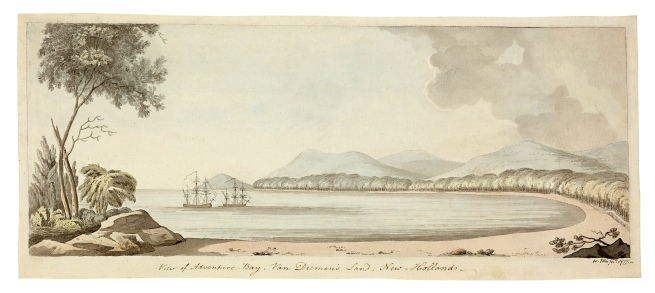 William Ellis. 'View of Adventure Bay, Van Diemen's Land, New Holland' 1777