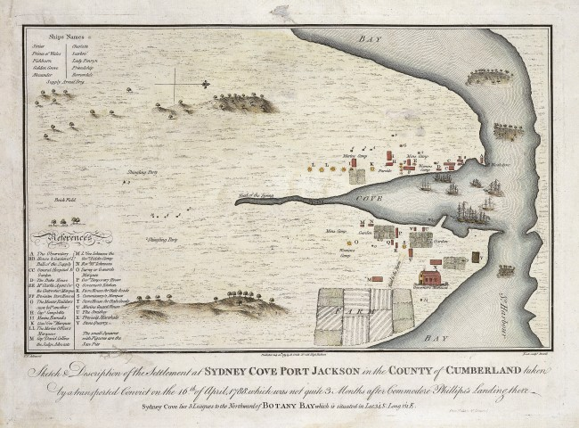 Francis Fowkes (draughtsman) Samuel John Neele (etcher) 'Sketch and description of the settlement at Sydney Cove Port Jackson in the County of Cumberland' 1788
