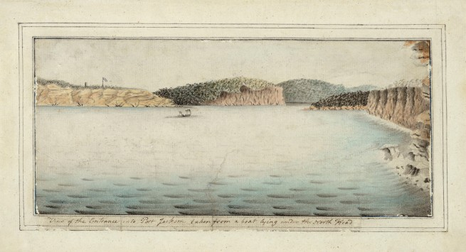 Port Jackson Painter. 'View of the entrance into Port Jackson taken from a boat lying under the North Head' c. 1790
