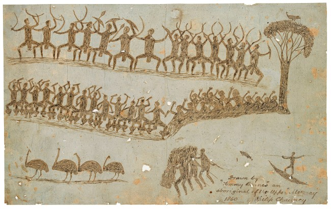 Tommy McRae (Kwat Kwat/Wiradjuri) (c. 1836-1901) 'Ceremony; hunting and fishing' 1860