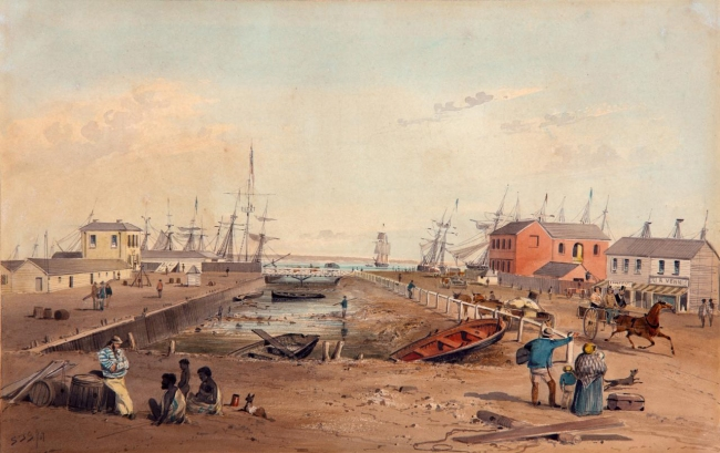 S.T. Gill (England 1819 - Australia 1880, Australia from 1839) 'Port Adelaide looking north along Commercial Road' 1847