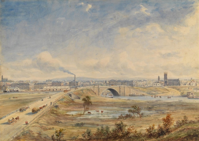 Henry Gritten (England 1818 - Australia 1873, Australia from 1853) 'Melbourne from the south bank of the Yarra' 1856