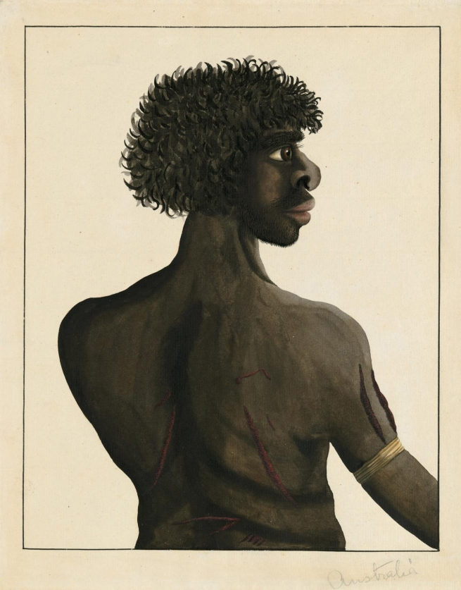 Port Jackson Painter. 'Half-length portrait of Gna-na-gna-na' c. 1790