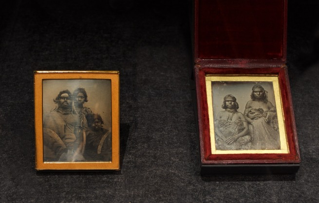 Douglas T. Kilburn (attributed to) 'No title (South-east Australian Aboriginal man and two younger companions)' 1847 (left) and 'No title (Two Koori women)' c. 1847 (right) Daguerreotypes