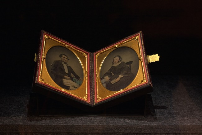 Unknown photographer (working 1850s) 'Pair of portraits: George Taylor, his wife Ann (nee Collis Pratt)' c. 1856 Ambrotypes