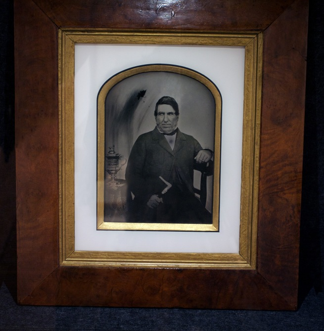 Unknown photographer. 'Robert Lyall with the New Norfolk Cup' 1851 Ambrotype
