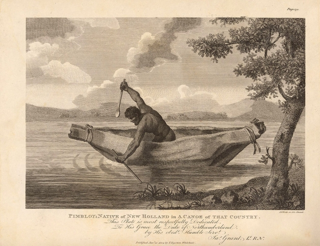 Samuel John Neele (etcher, England 1758-1825) 'Pimbloy [Pemuluwuy], native of New Holland in a canoe of that country' 1804