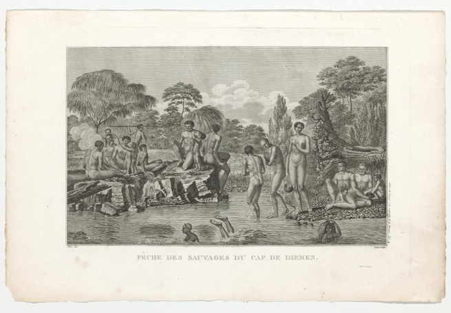 Piron and Copia. 'Natives of Cape Diemen fishing (Pêche des sauvages du Cap de Diemen)' 1800