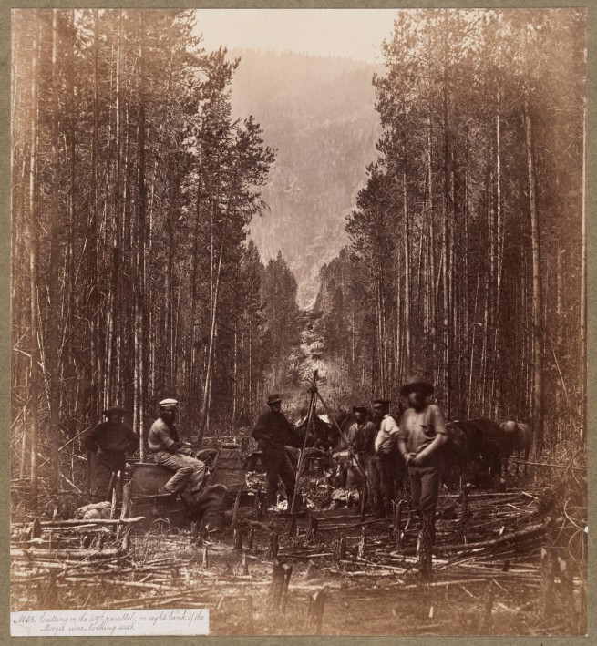 Royal Engineers. 'Cutting on the 49th Parallel, on the Right Bank of the Mooyie River Looking West' about 1860