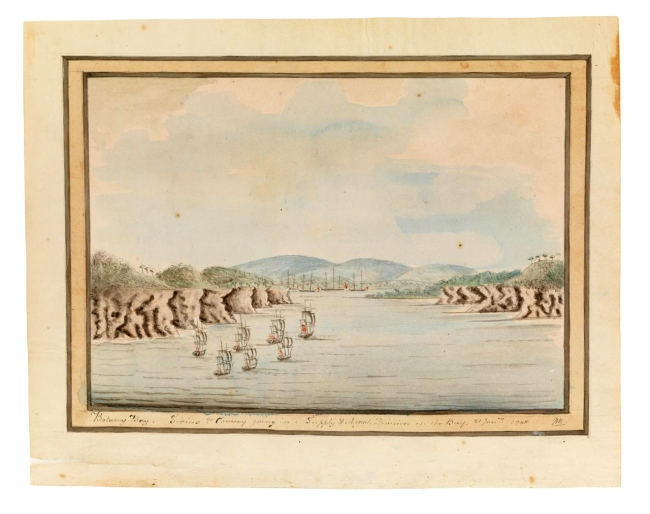 William Bradley. 'Botany Bay. Sirius & Convoy going in: Supply & Agents Division in the Bay. 21 Janry 1788'