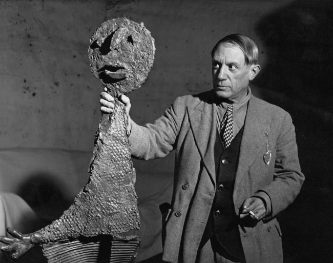 Brassaï(Gyulá Halász, 1899 - 1984) 'Picasso Holding One Of The Sculptures' 1939