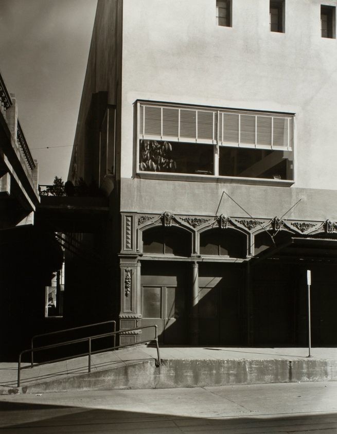 Minor White(American, 1908-1976) 'New on Old (Southeast Corner, First and Burnside)' c. 1939