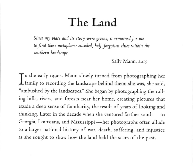 Sally Mann wall text