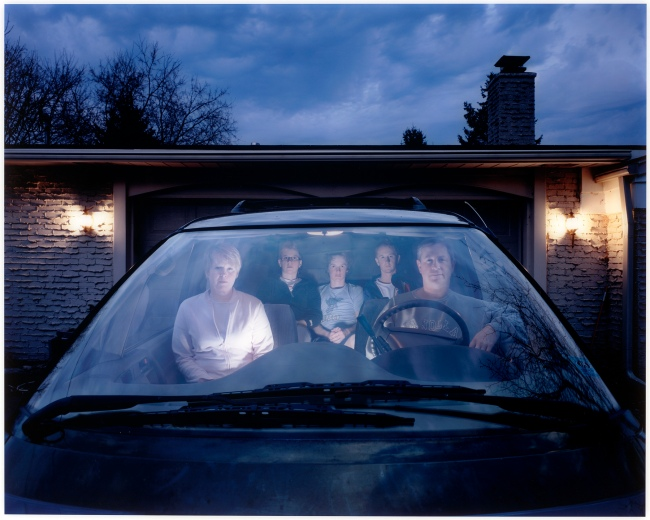 Julie Mack (American, born in 1982) 'Self-portrait (Julie) with family in SUV, Michigan' 2007