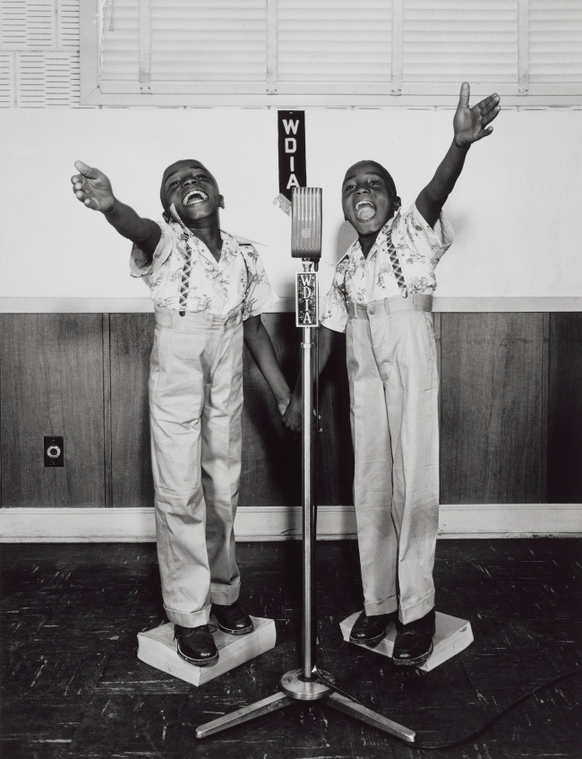 Ernest C. Withers (American, 1922–2007) 'Twins at WDIA, Memphis' about 1948