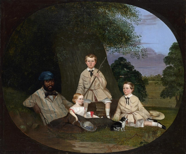 Robert Dowling (England 1827-86, Australia 1834-57, 1884-86) 'Masters George, William and Miss Harriet Ware with the Aborigine Jamie Ware' 1856