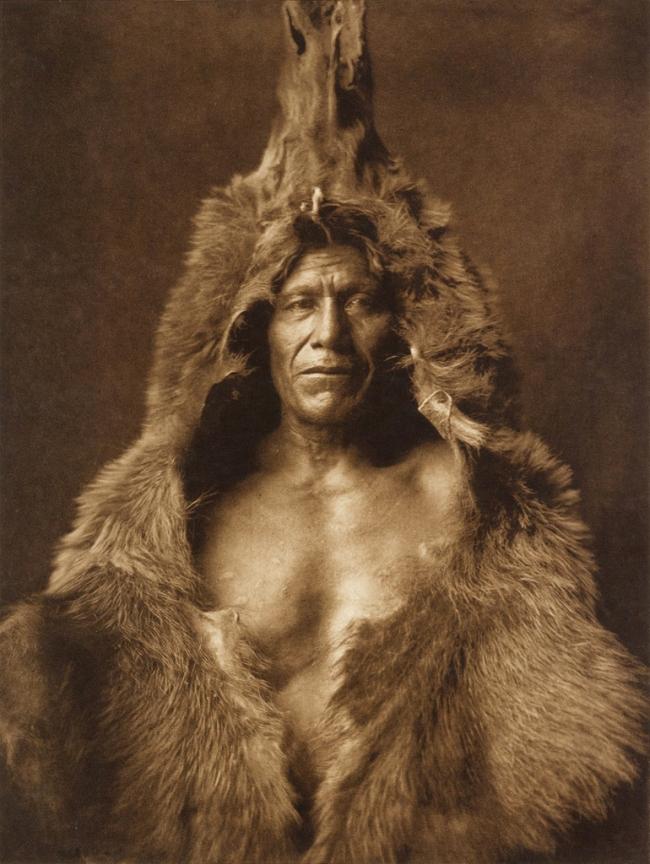 Edward S. Curtis (1868-1952) '[Bear's Belly, Arikara Indian half-length portrait, facing front, wearing bearskin]' c. 1908
