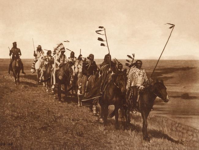 Edward S. Curtis (1868-1952) 'On the war path - Atsina' c. 1908
