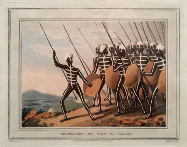 John Heaviside Clark (draughtsman Scotland 1770-1863, England 1801-32) Matthew Dubourg (engraver active in England 1786-1838) 'Warriors of New S. Wales' 1813 (installation view)
