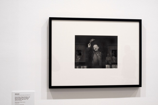Weegee (Arthur Fellig)(1899-1968) 'Emmett Kelly, Ringling Brothers and Barnum & Bailey Circus' 1943 (installation view)