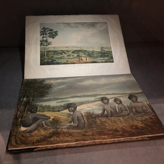 James Wallis (Ireland c. 1785 - England 1858, Australia 1814-19) 'View of Awabakal Aboriginal people, with beach and river inlet, and distant Aboriginal group in background' c. 1818 (installation view)