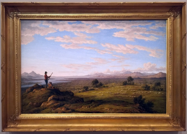 John Glover (England 1767 - Australia 1849, Australia from 1831) 'Moulting Lagoon and Great Oyster Bay, from Pine Hill' c. 1838 (installation view)