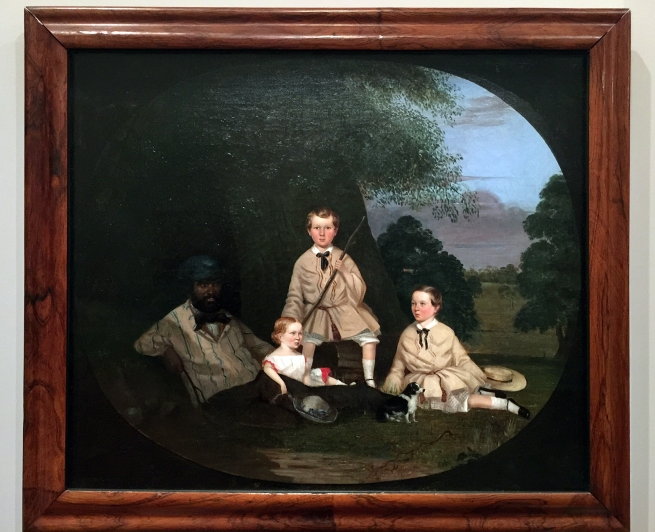 Robert Dowling (England 1827-86, Australia 1834-57, 1884-86) 'Masters George, William and Miss Harriet Ware with the Aborigine Jamie Ware' 1856 (installation view)