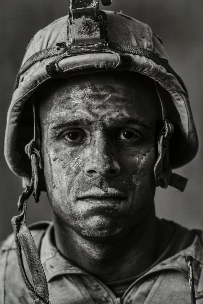 """Louie Palu(Canadian, born in 1968) 'U.S. Marine Gysgt. Carlos """"OJ"""" Orjuela, age 31. Garmsir, Helmand, Afghanistan' 2008"""