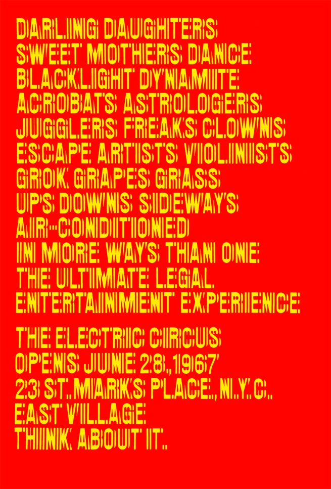 'Poster for the Nightclub The Electric Circus' New York, 1967