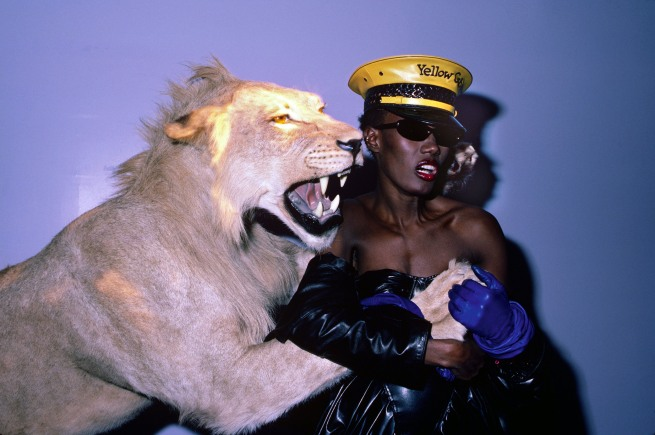 "Volker Hinz. 'Grace Jones at ""Confinement"" theme, Area' New York, 1984"