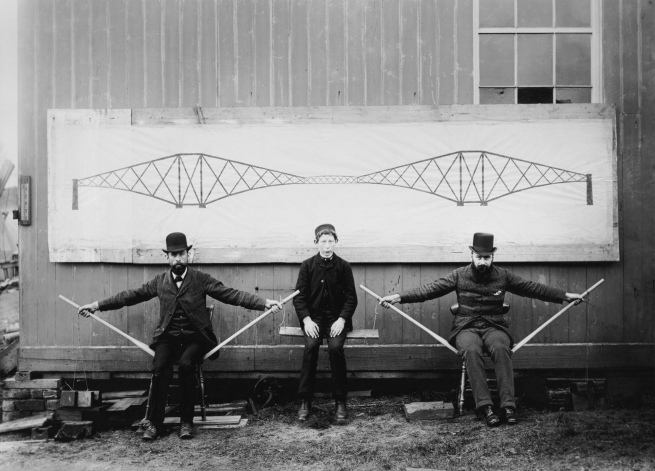 Evelyn George Carey (1858 - 1932) 'The Forth Bridge. Two Seated Men Raising a Boy up to Demonstrate the Cantilever Principle' September 17th 1885