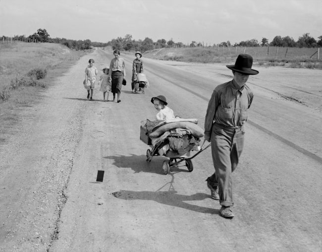 Dorothea Lange. 'Family walking on highway - five children. Started from Idabel, Oklahoma, bound for Krebs, Oklahoma' June 1938