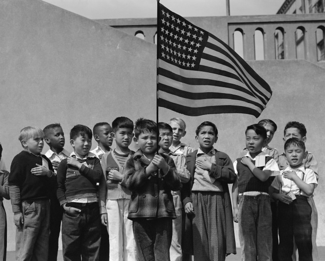 Dorothea Lange. 'San Francisco, California. Flag of allegiance pledge at Raphael Weill Public School, Geary and Buchanan Streets' 1942