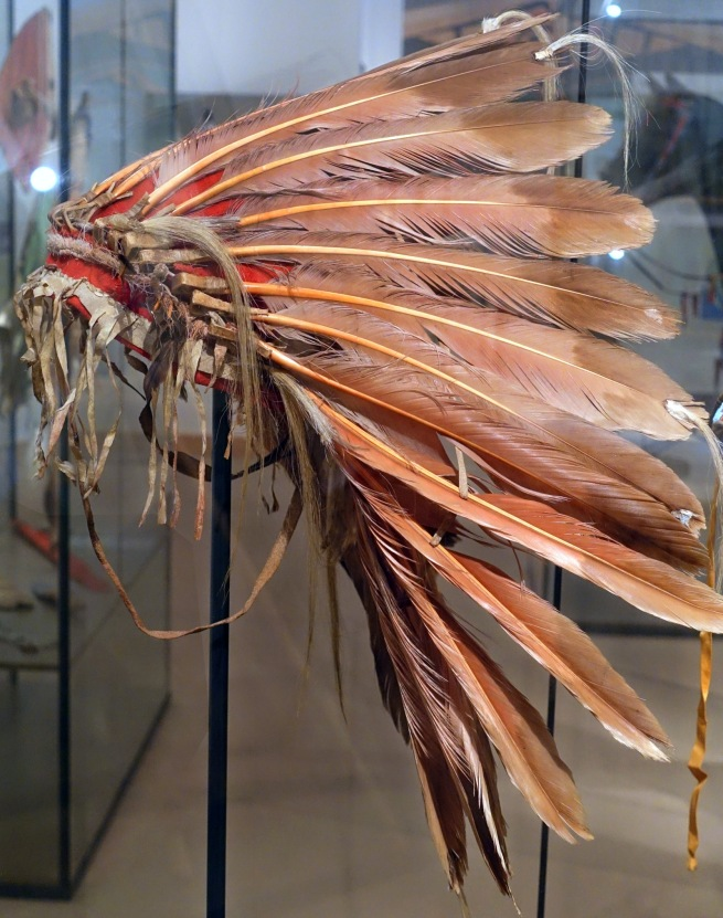 Unknown maker (Native American) 'Feather headdress from 'Wolf Chief', Hidatsa' c. 1830