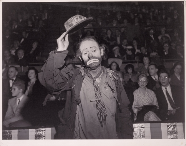 Weegee (Arthur Fellig) (American, born Austria, 1899-1968) 'Emmett Kelly, Ringling Brothers and Barnum & Bailey Circus' Negative May 1943; print about 1950