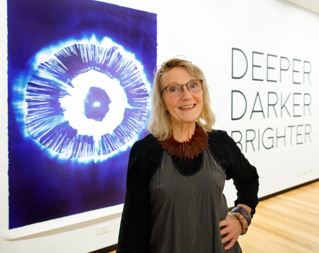 Carolyn Lewens in front of her work 'In the Photic Zone' 2018
