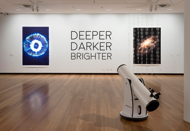 Installation view of gallery one at the exhibition 'Deeper Darker Brighter' at Town Hall Gallery, Hawthorn Arts Centre, Melbourne
