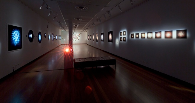 Installation view of gallery three at the exhibition 'Deeper Darker Brighter' at Town Hall Gallery, Hawthorn Arts Centre, Melbourne