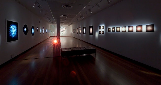 Installation view of gallery three at the exhibition'Deeper Darker Brighter' at Town Hall Gallery, Hawthorn Arts Centre, Melbourne