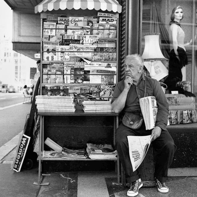 John Williams. 'Paper Seller, Farmer's Building, Sydney' 1965