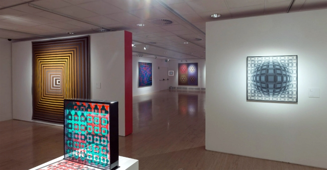 Installation view of the exhibition 'Victor Vasarely. The Birth of Op Art' at the Museo Nacional Thyssen-Bornemisza, Madrid