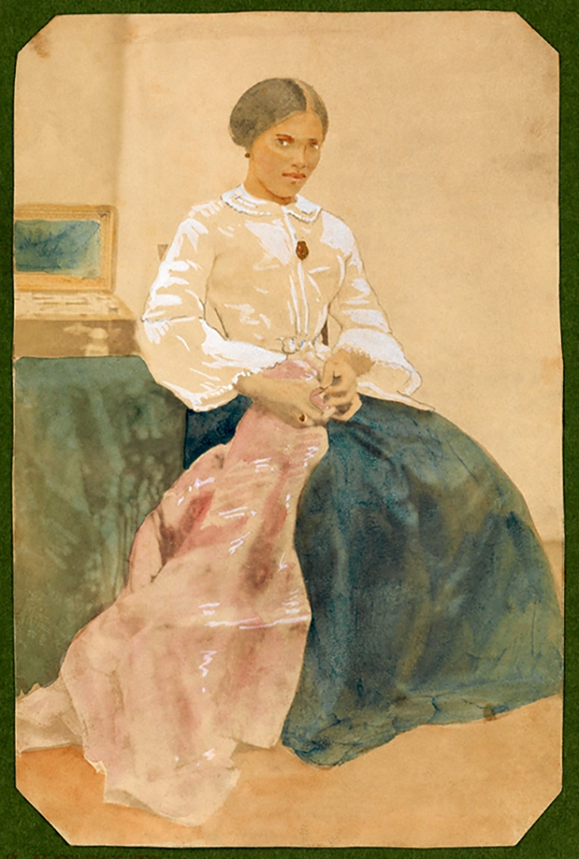 Hermann Kummler (compiler) (1863-1949) '[Portrait of a maid holding an embroidered cloth]' 1861-1862