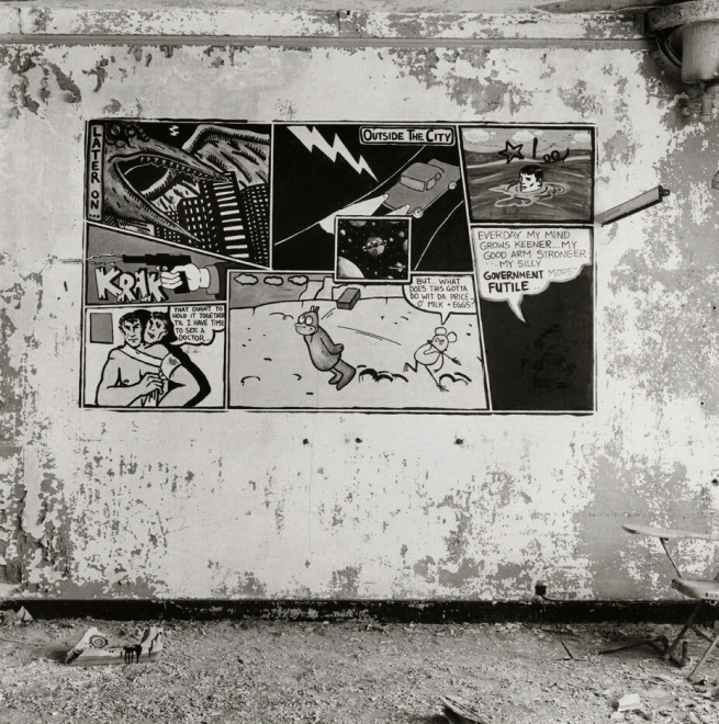 Peter Hujar (1934-1992) 'Canal Street Piers: Krazy Kat Comic on Wall [by David Wojnarowicz]' 1983